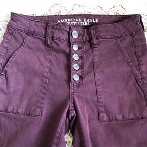American Eagle skinny moto button fly pants
